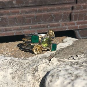 Jewelry - Stack Two-Tone Peridot Grn Onyx Sterling Ring 7.5